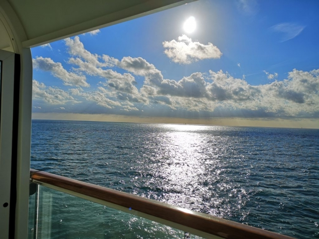 Marella Discovery Cruise Ship Balcony View  Clouds Ocean