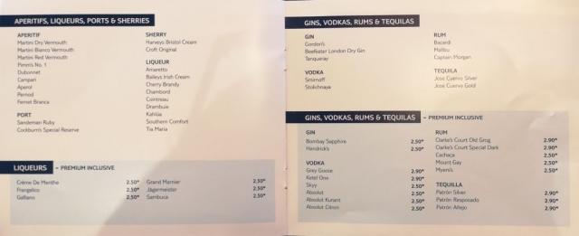 Marella Cruises All Inclusive Drinks Menu Beer Cider Cocktails Soft Drinks