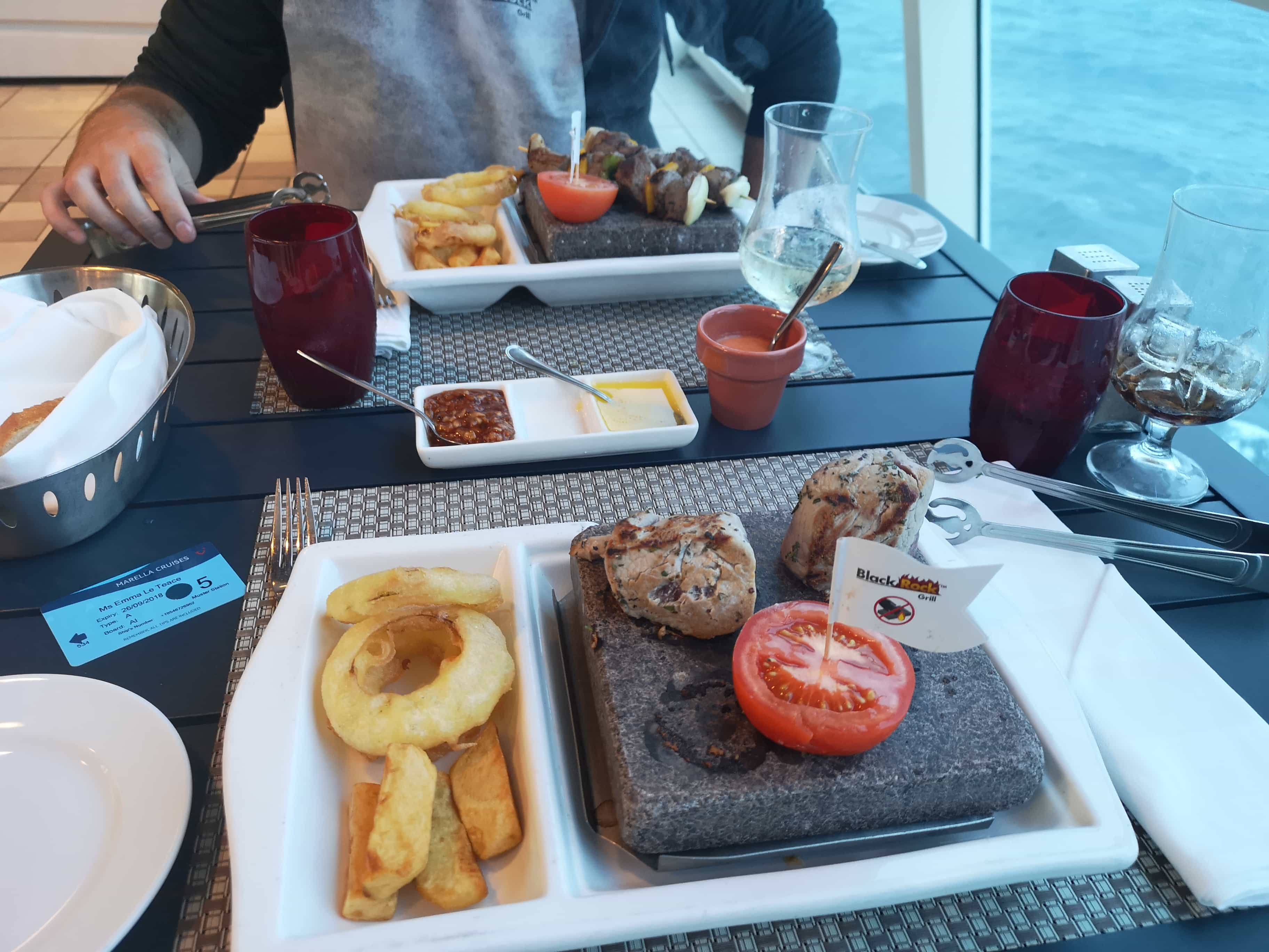 Marella Discovery Glass House Hot Stones Beef Kebabas Onion Rings Chips