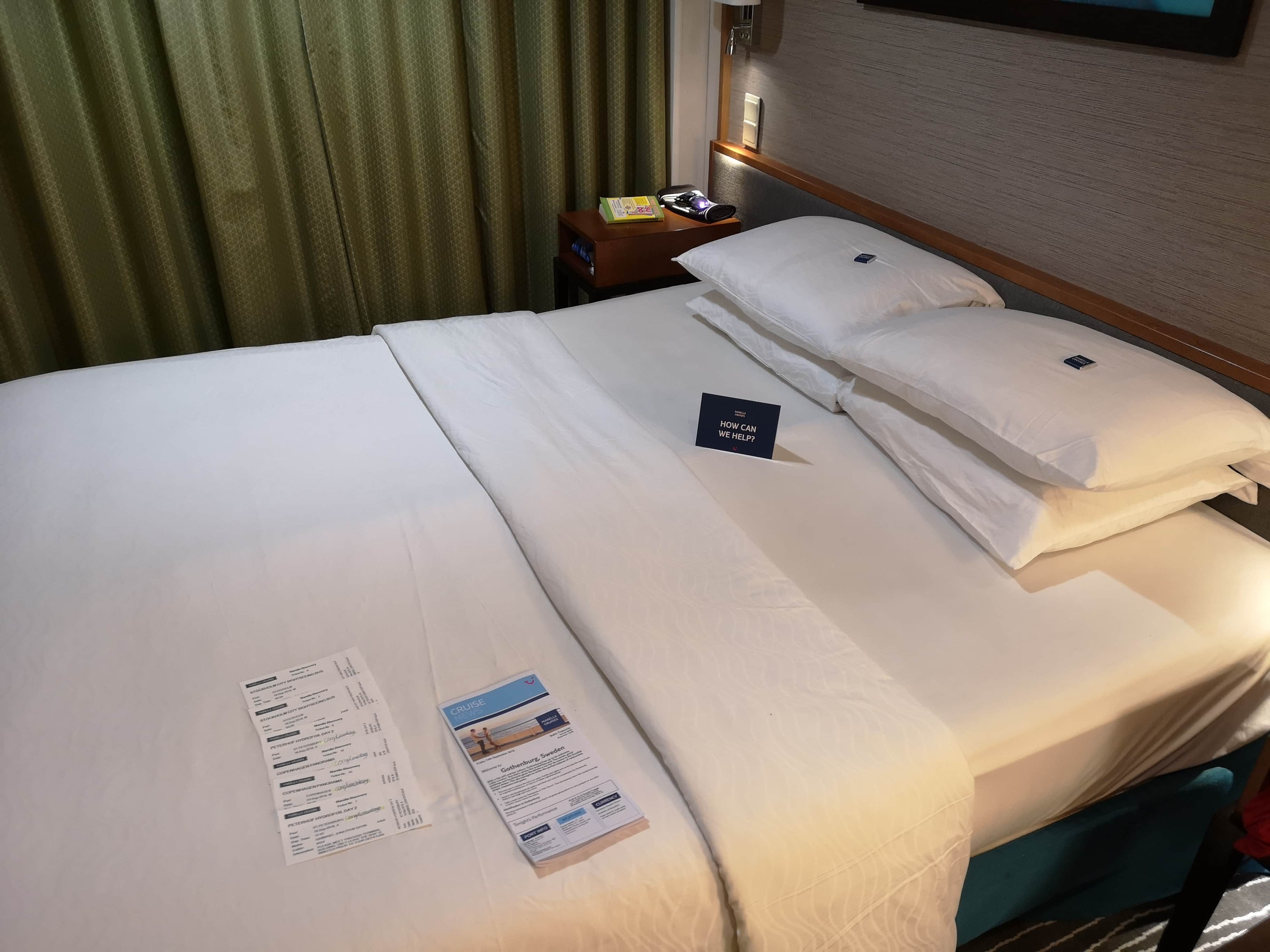 Marella Discovery Bed Balcony Cabin Chocolate on Pillow Daily Schedule