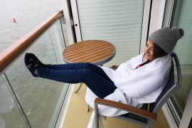 Marella Discovery Tui Balcony Cabin Watching a sail away table and chairs space