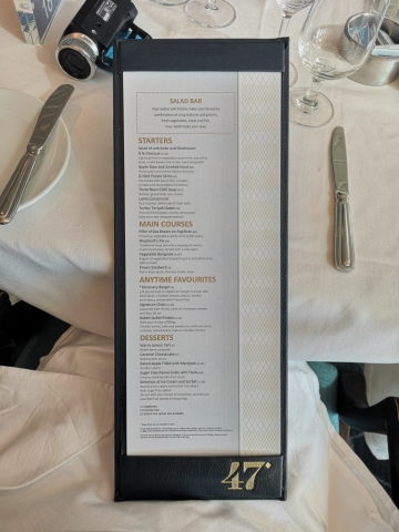 Marella Discovery Main Dining Room 47 Degrees Menu
