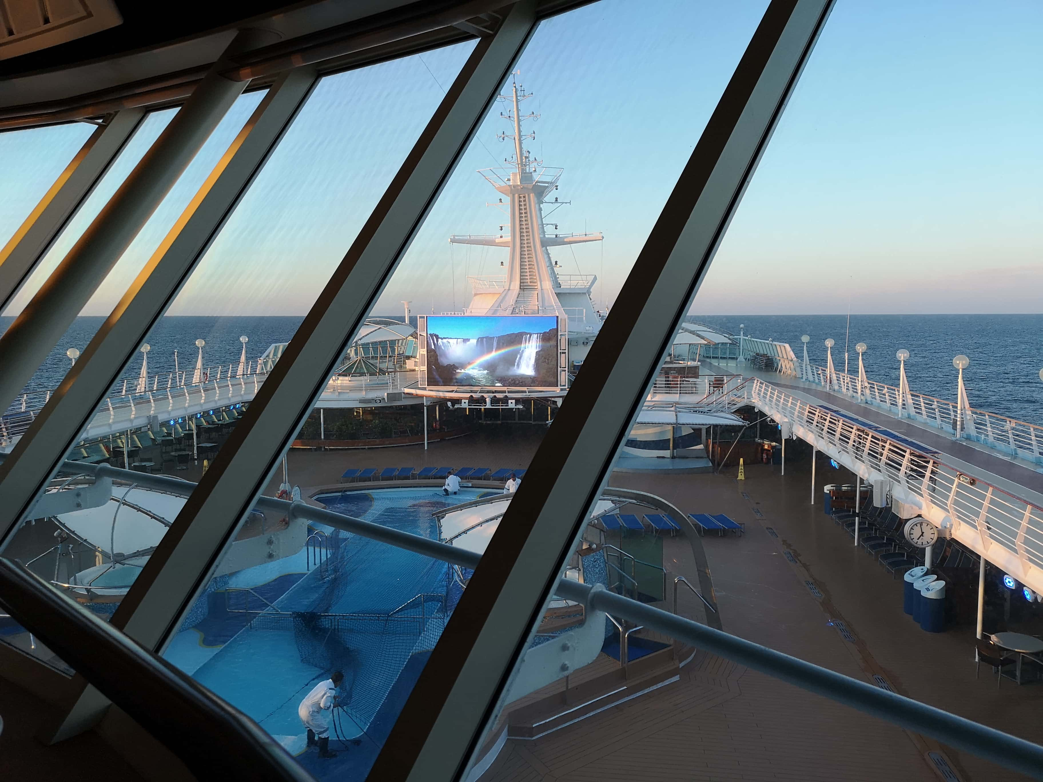 Marella Discovery Top Deck View from Kora La Swimming Pools Sun Loungers