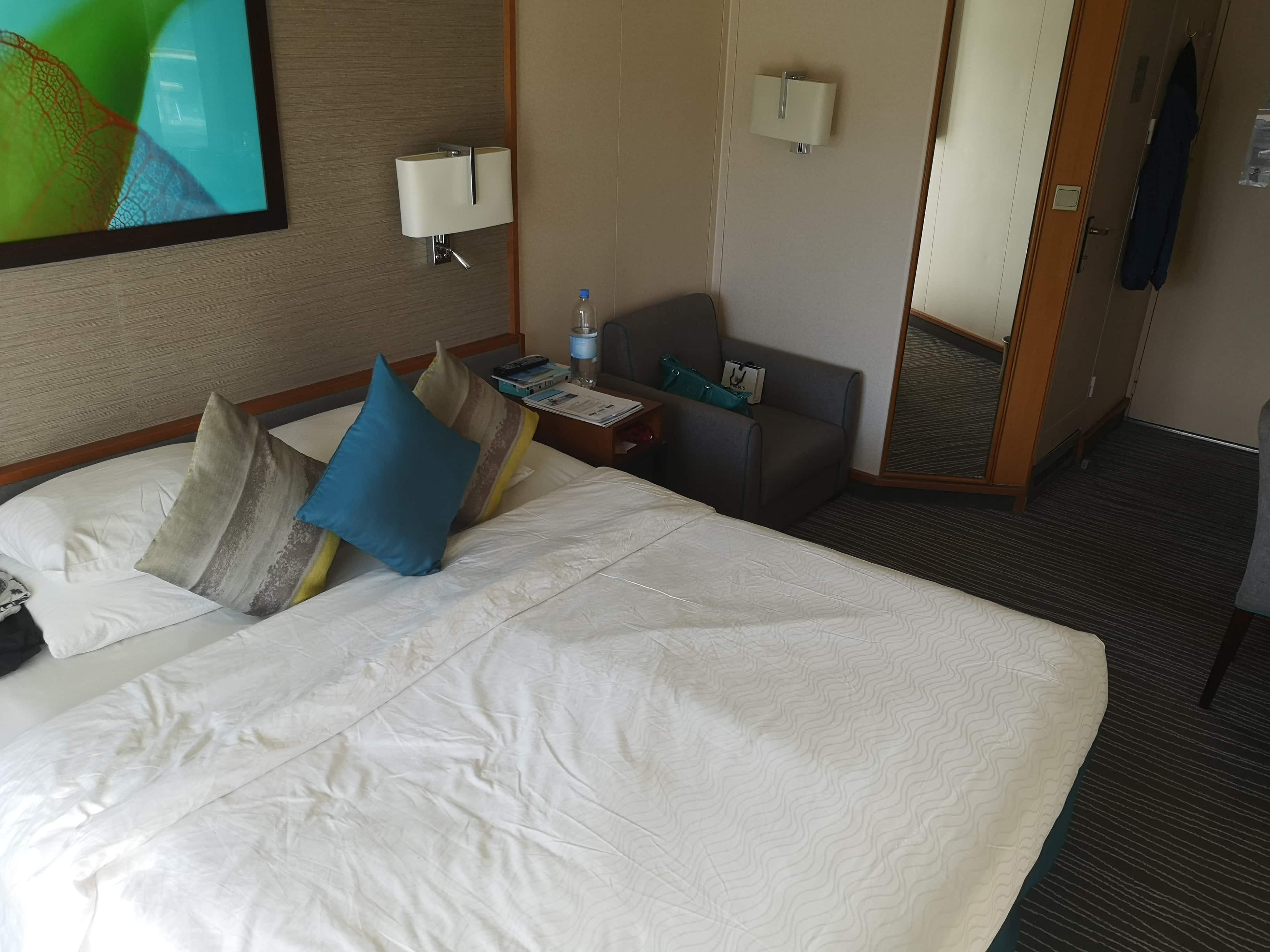 Marella Discovery Balcony Cabin  Bed Chair Bathroom Desk