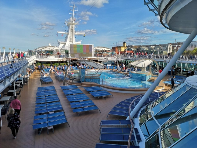 Marella Discovery Top Deck TV Screen Swimming Pools