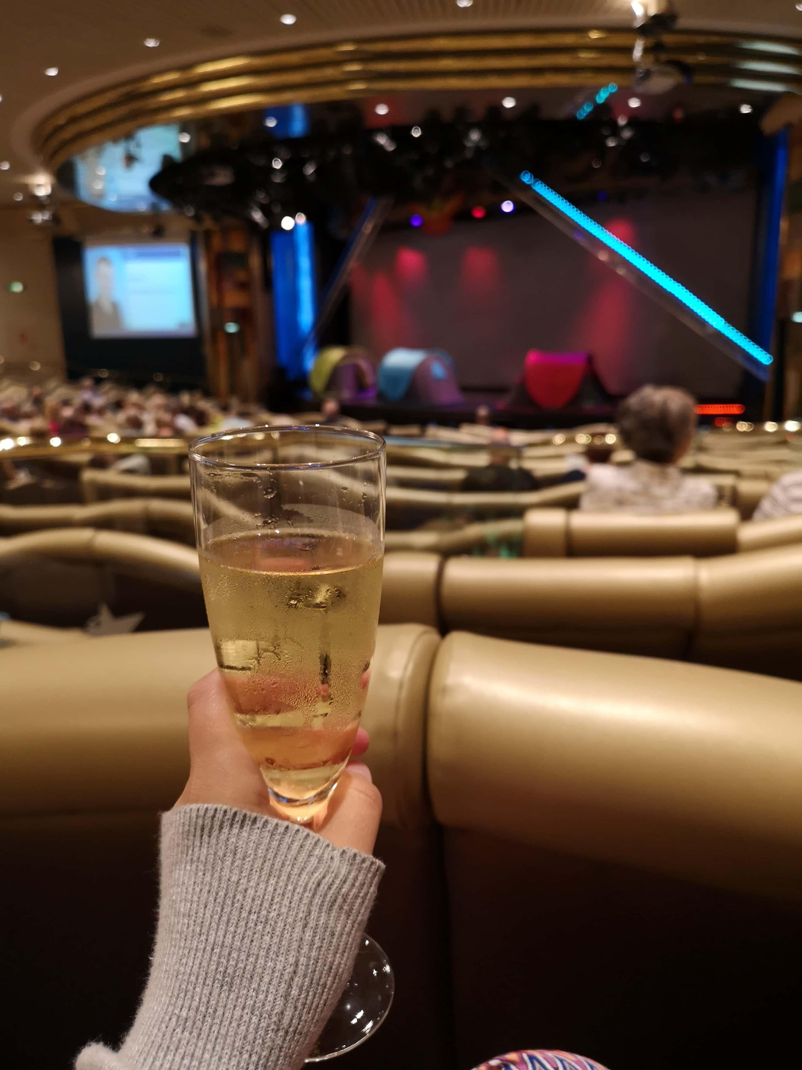 Marella Discovery Theatre Broadway Show lounge prosecco