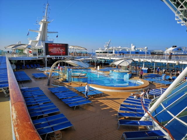 Marella Discovery Top Deck Trivia  Swimming Pool Sun Loungers