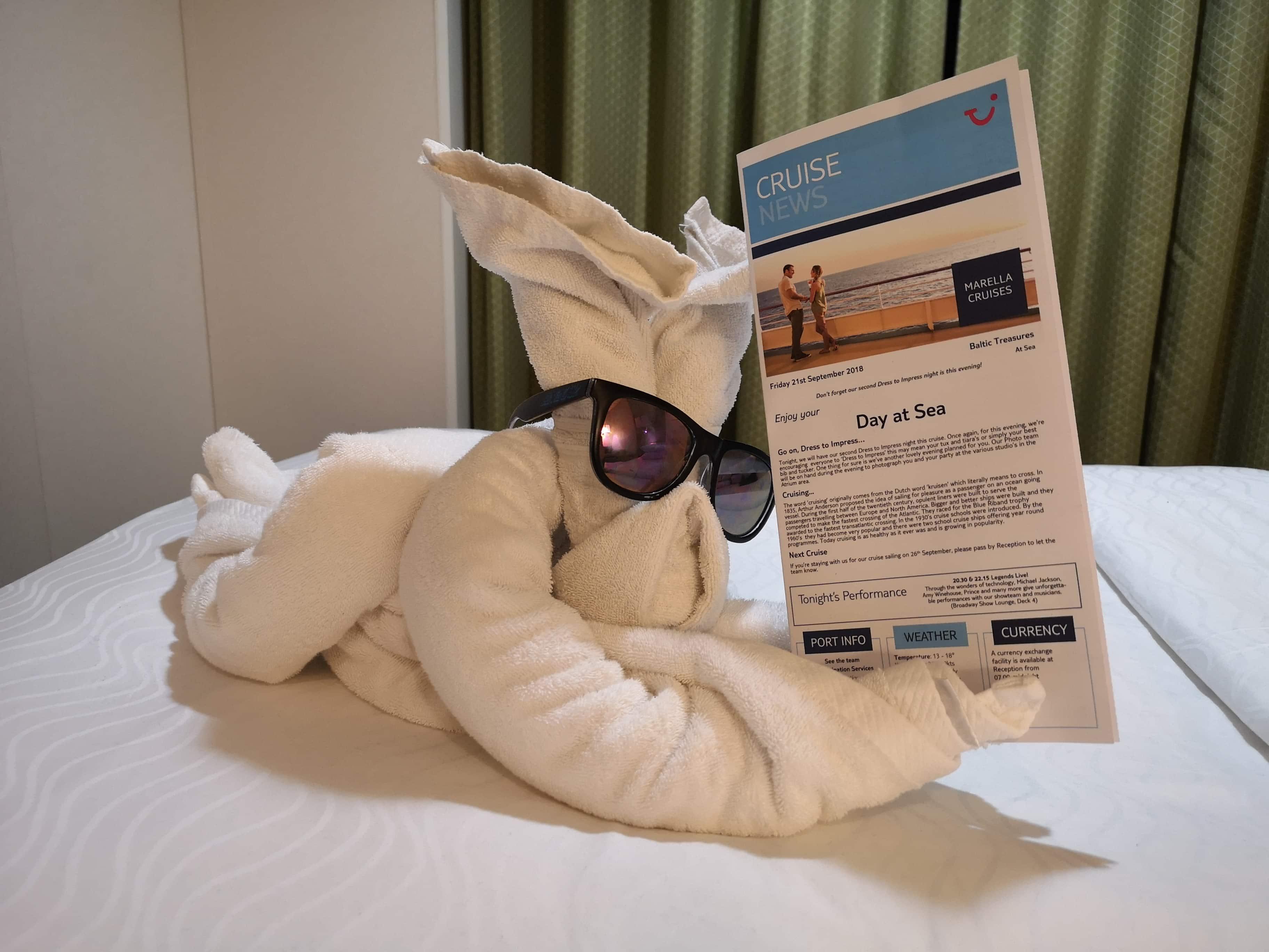 Marella Discovery Cruise News Towel Animal in Sunglasses