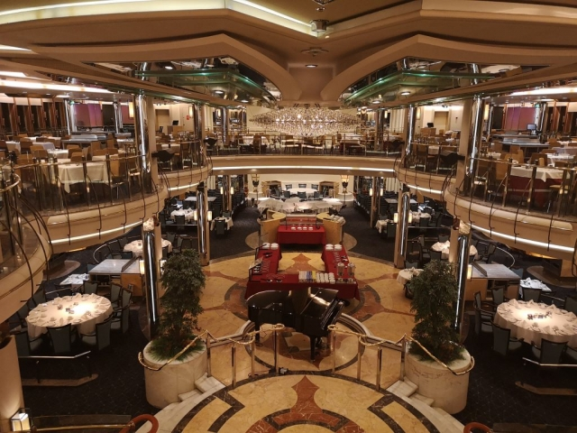 Marella Discovery Main dining room 47 degrees  view from top level gallery