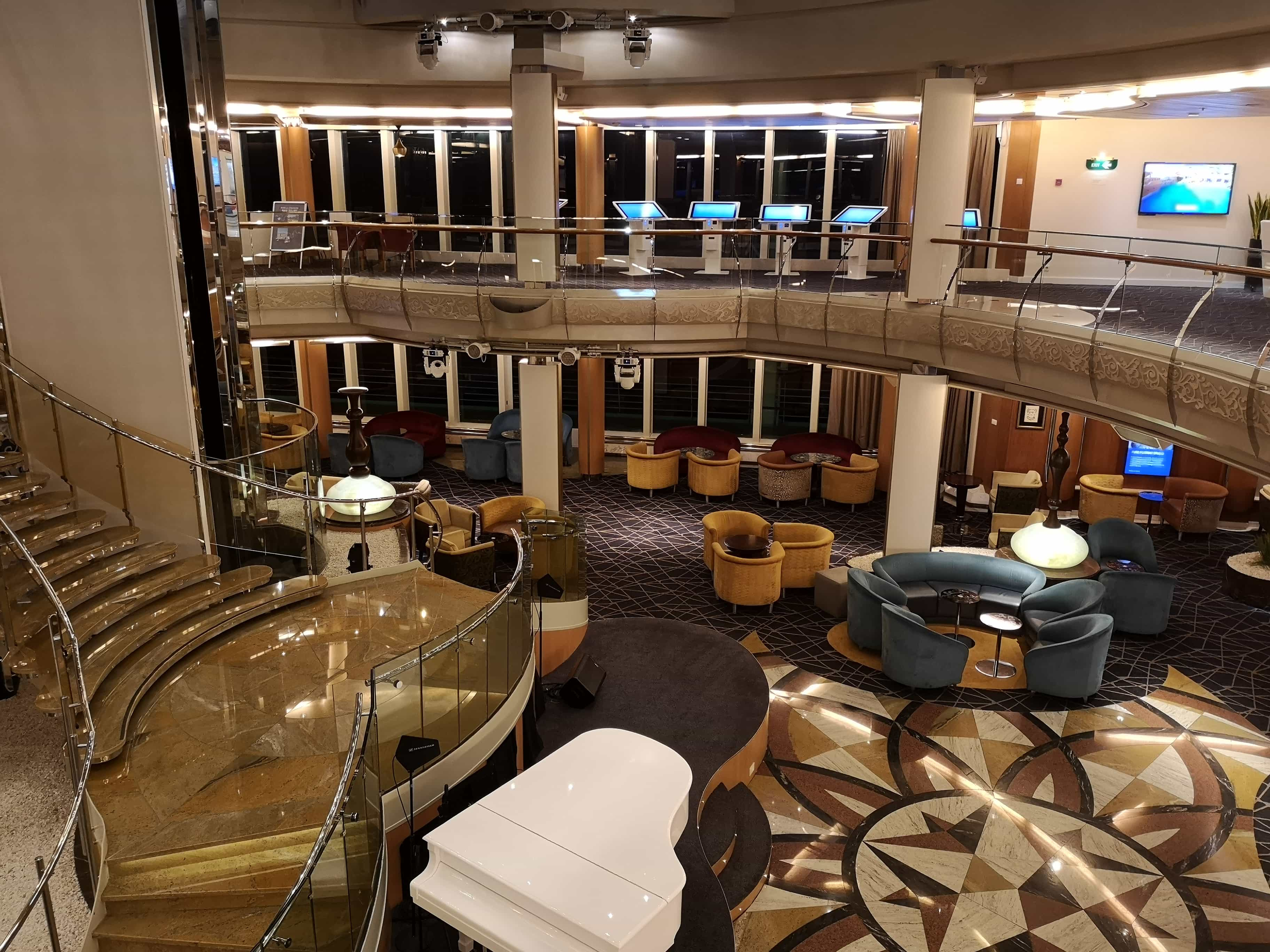 Marella Discovery Atrium from deck 4  excursions piano lift elevator
