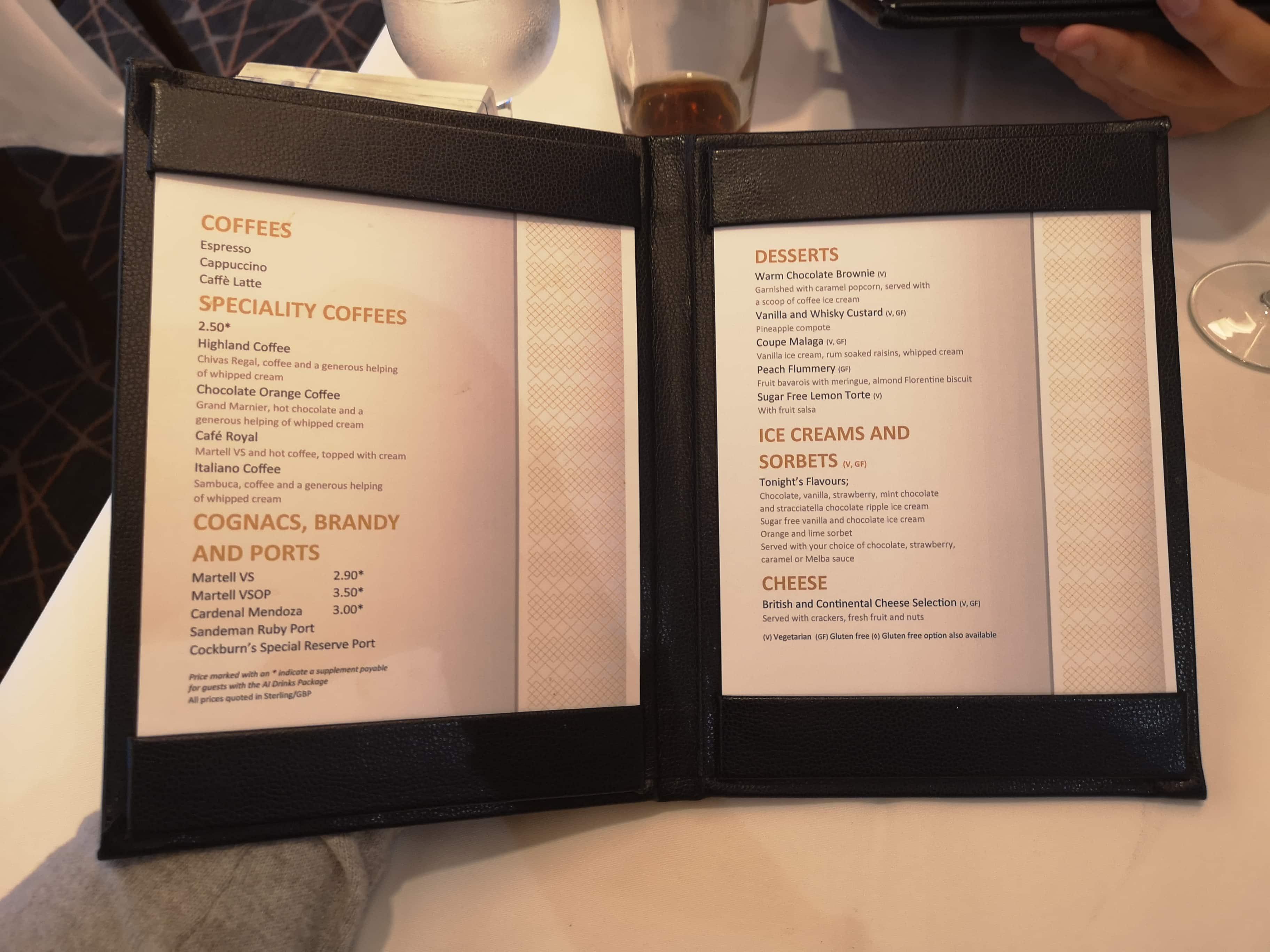 Marella Discovery Main Dining Room Dessert Menu  Coffee Ice creams and sorbets