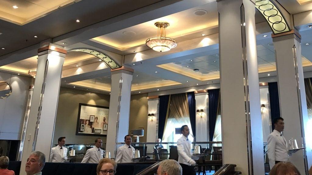 The waiters arrive - Cunard's Afternoon Tea