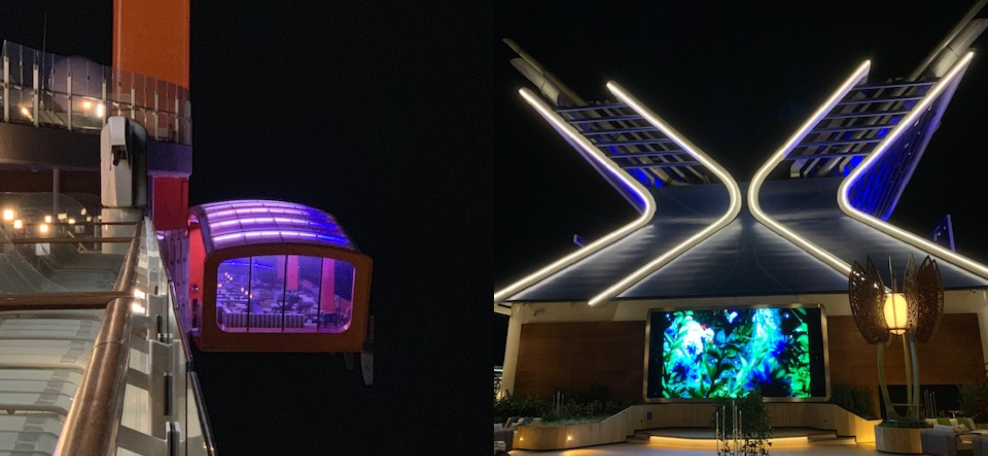 Celebrity Edge at Night Sign X and Magic Carpet