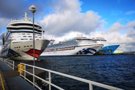 Cruise ships in Tallinn AIDAMar Sapphire Princess and Norwegian Breakaway
