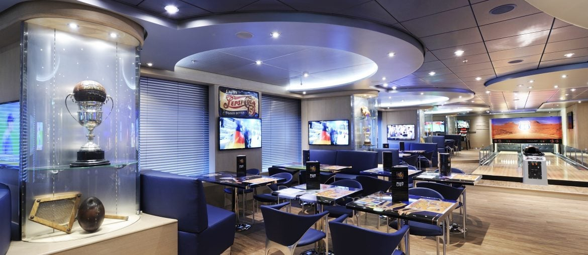 Sports bar and bowling alley on MSC Preziosa