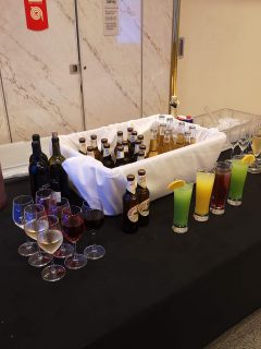 Marella Cruises All Inclusive Drinks Table outside theatre prosecco cocktails beers