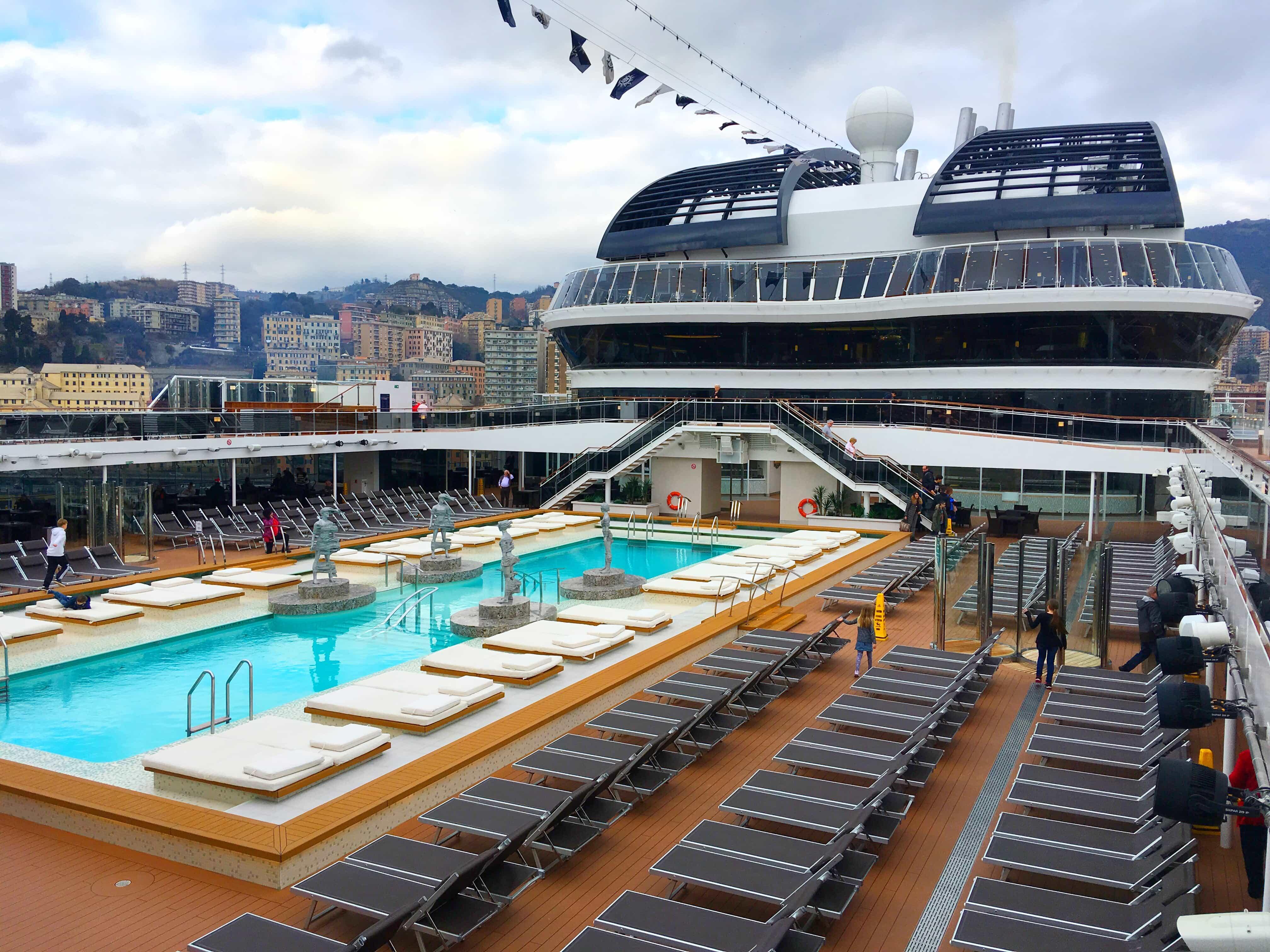 MSC Meraviglia Top Deck Swimming pool and sun loungers