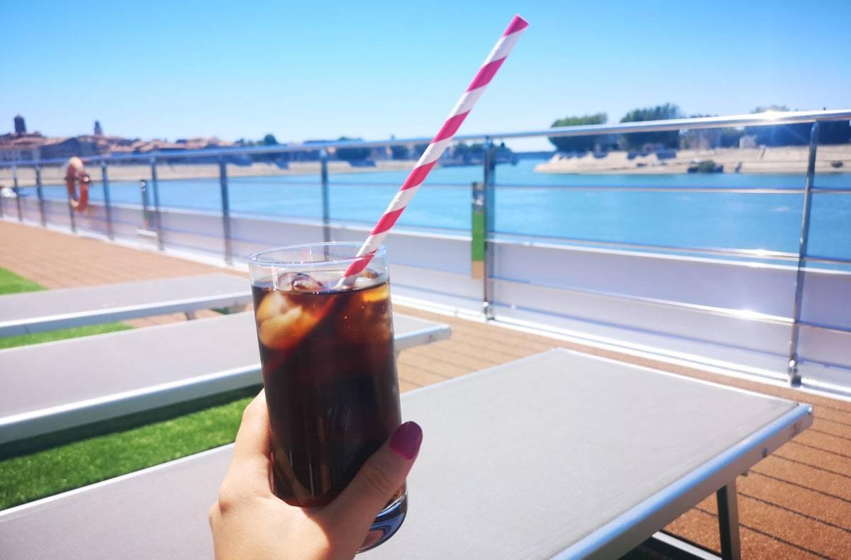 Emerald Waterways Drinks Packages Soda Coke Paper Straw on Sun Deck