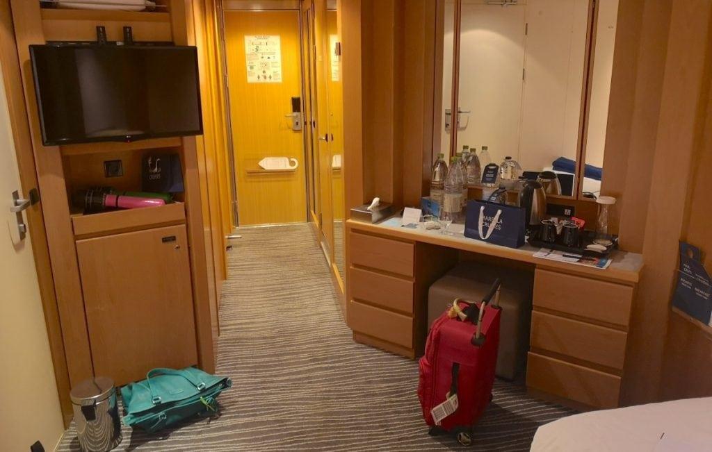Marella Explorer Inside Cabin Desk TV Bathroom Wardrobes and Closet