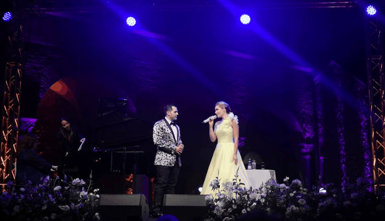 Katherine Jenkins and Mark Vincent in Rome Yellow Dress on Stage