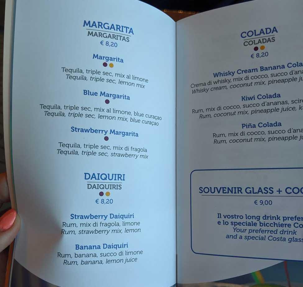 costa cruises drinks menu cocktails
