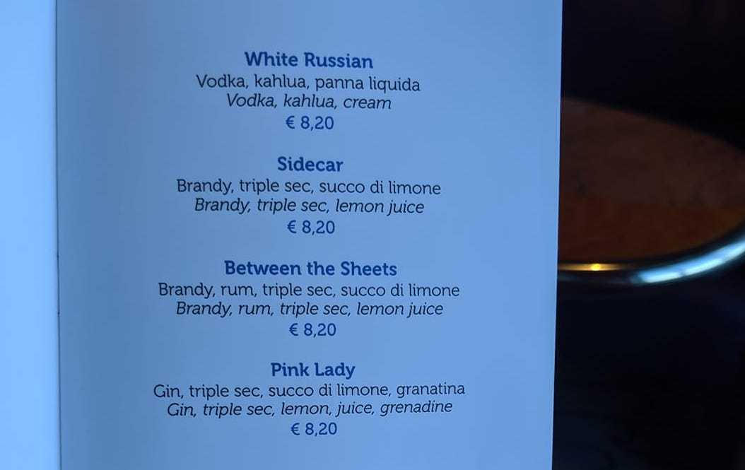costa cruises drinks menu