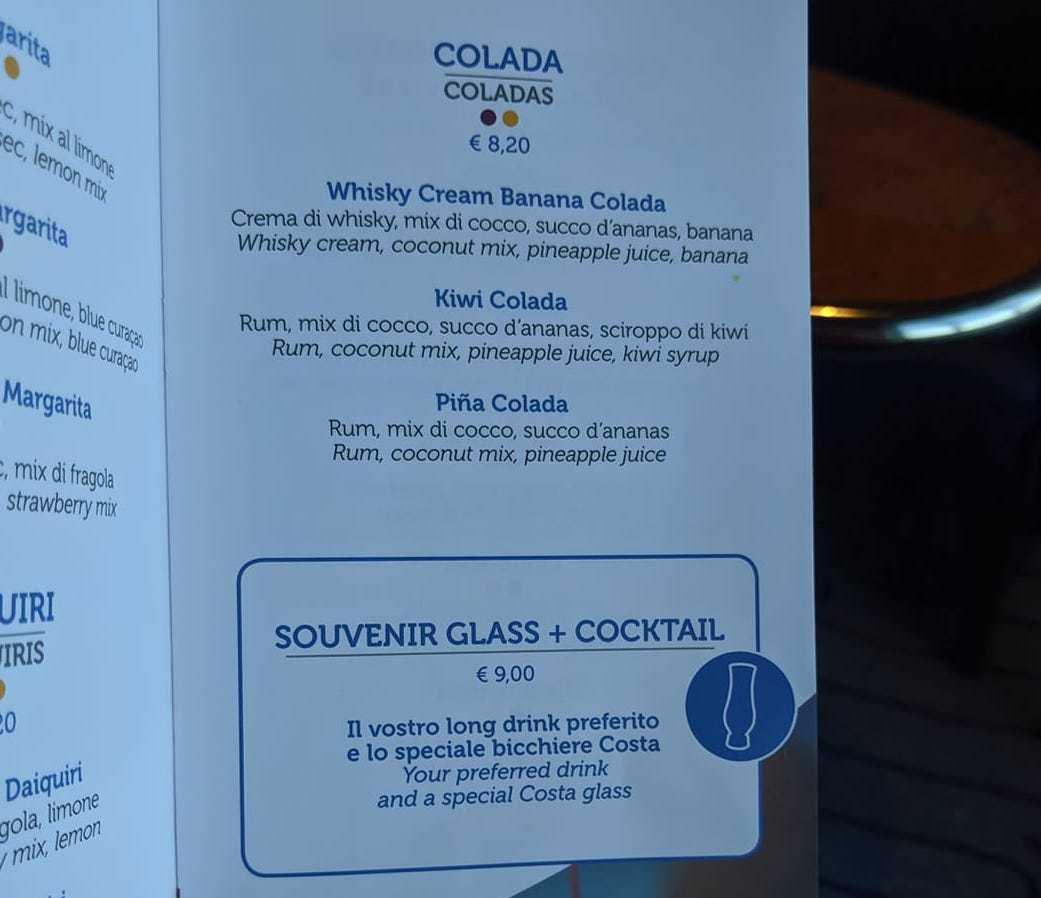 costa cruises drinks menu cocktail