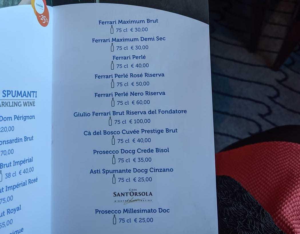 costa cruises drinks menu sparkling wine champagne