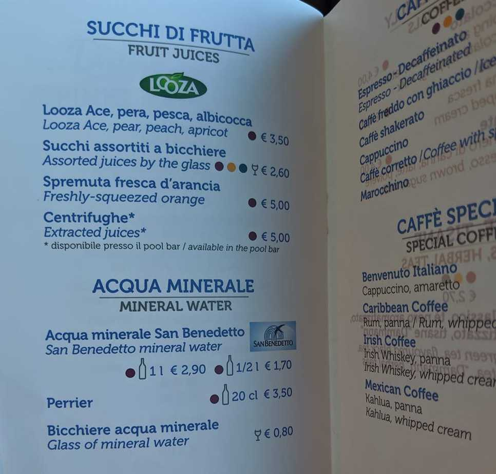 costa cruises drinks menu fruit juice water coffee