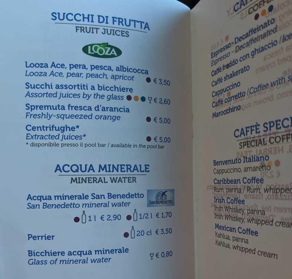 costa cruises drinks menu fruit juice water coffee