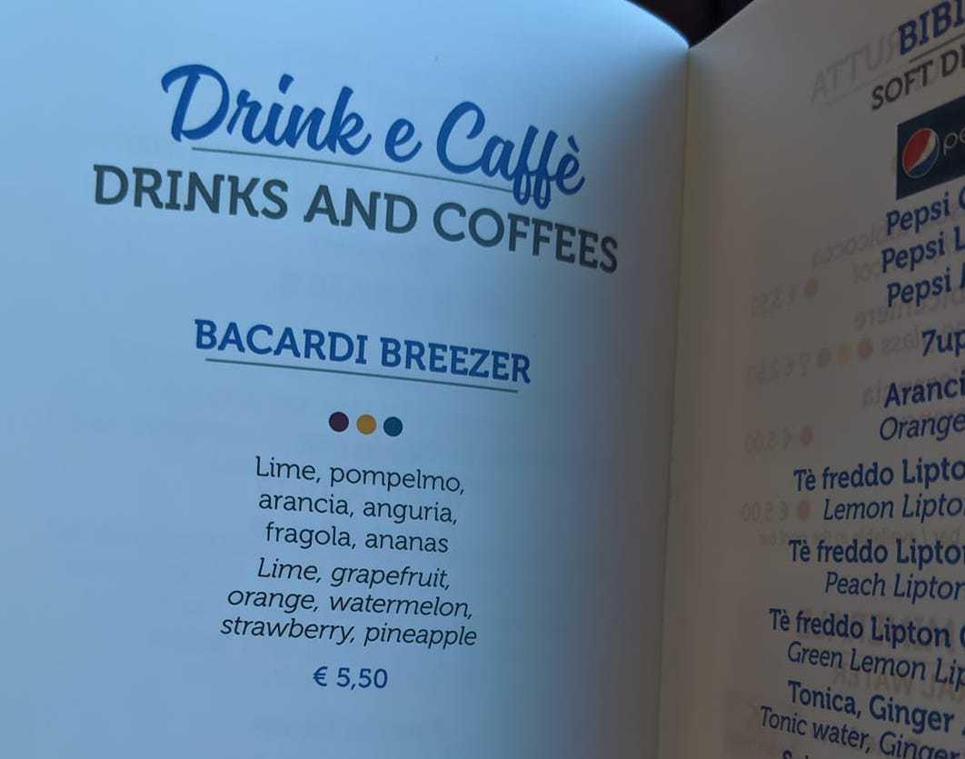 costa cruises drinks menu coffee