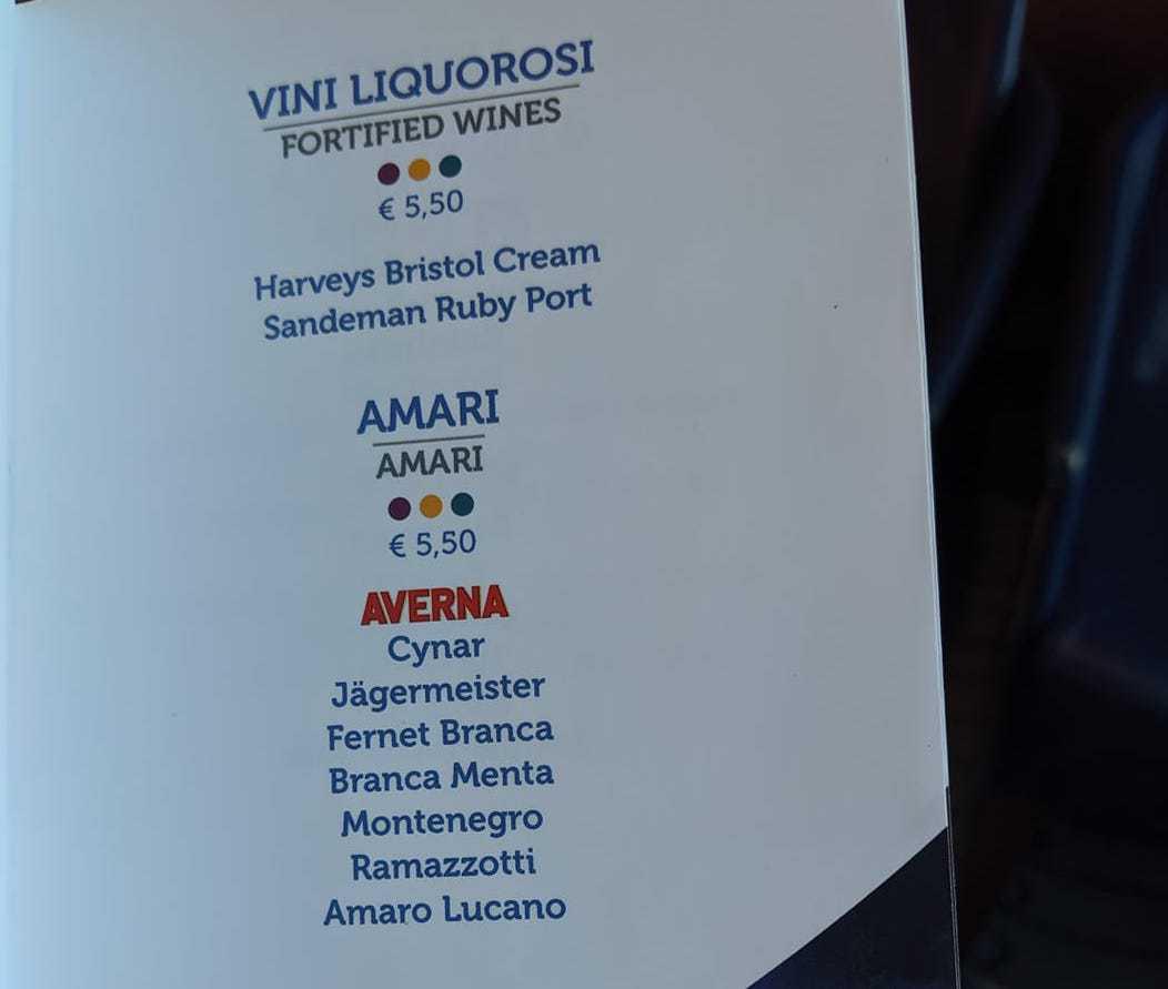 costa cruises drinks menu wine