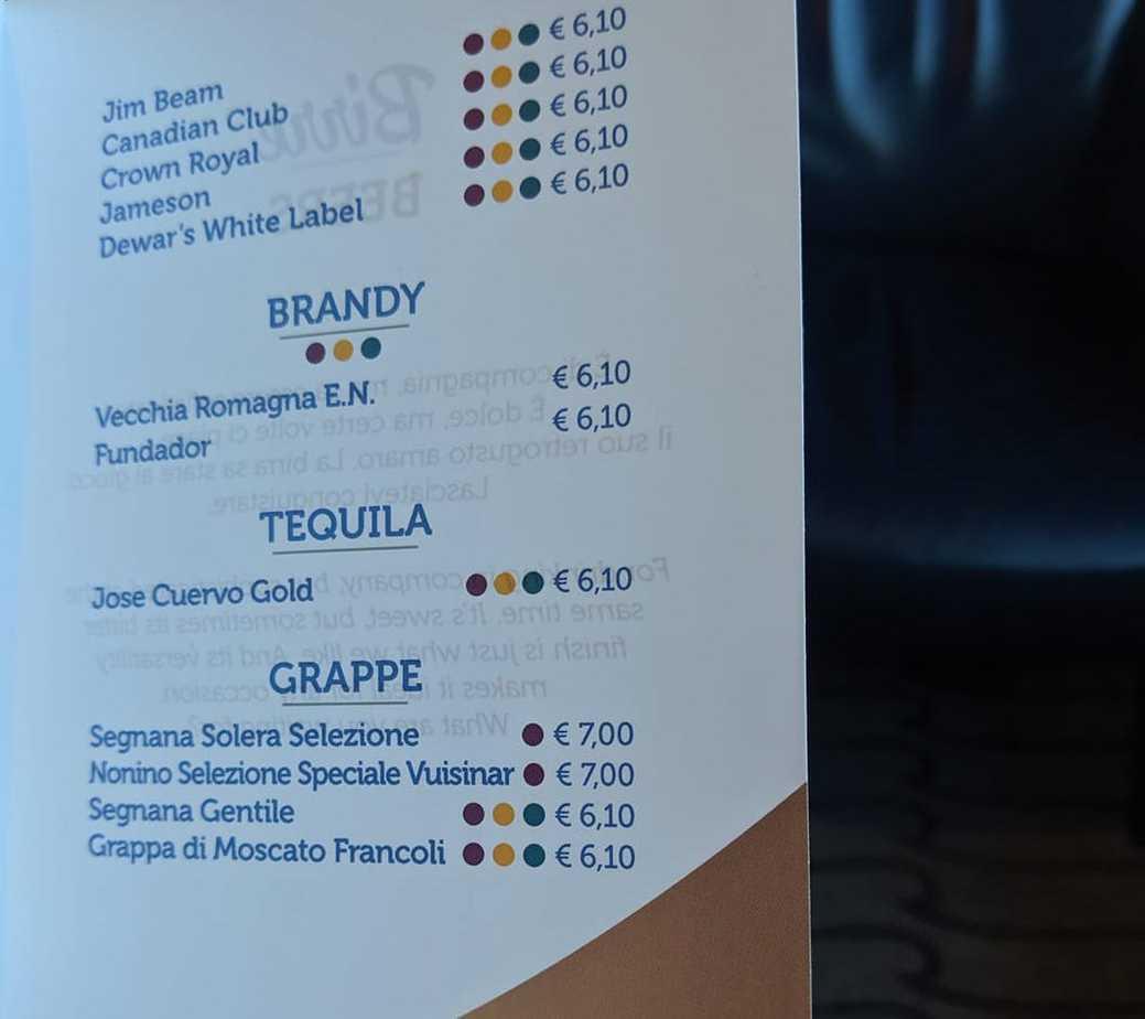 costa cruises drinks menu brandy tequila