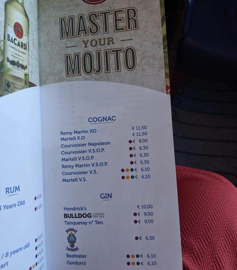 costa cruises drinks menu mojitos