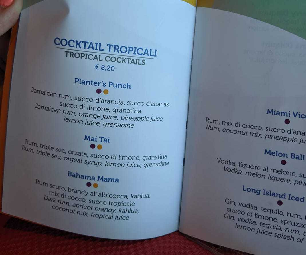 costa cruises drinks menu cocktails