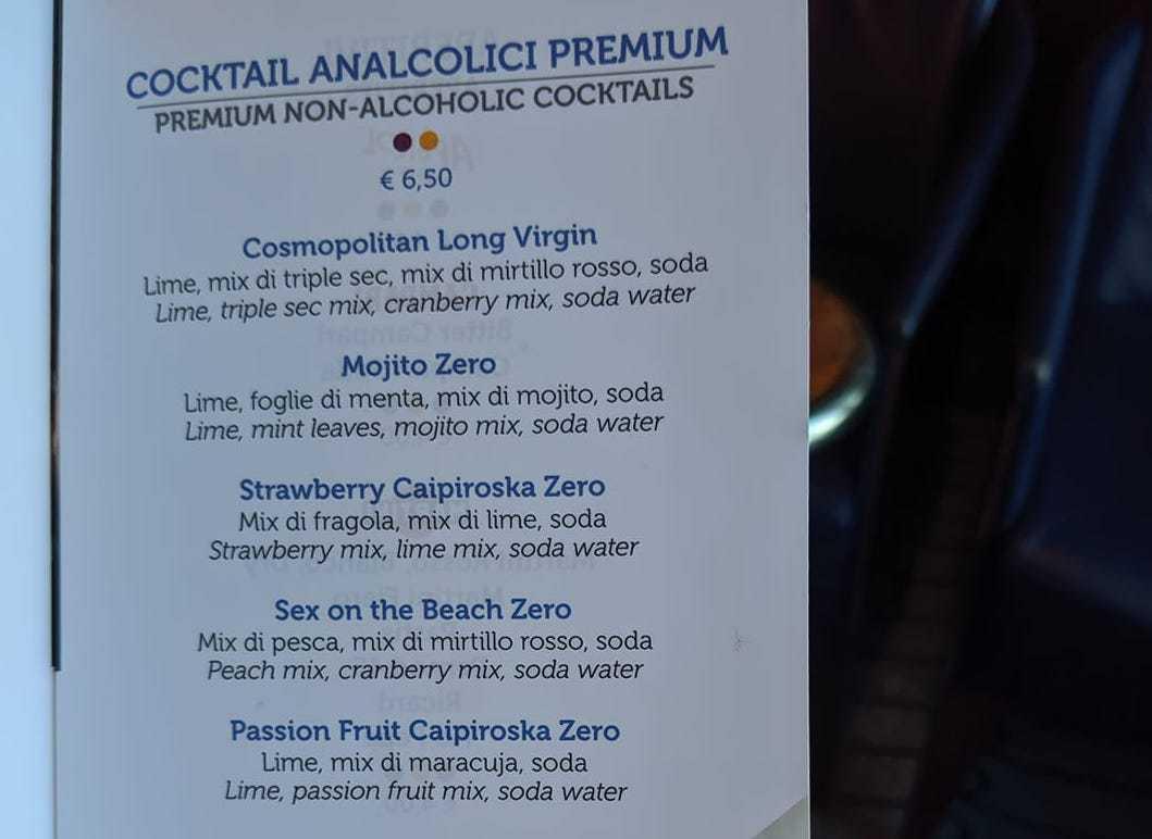 costa cruises drinks menu non alcoholic cocktails