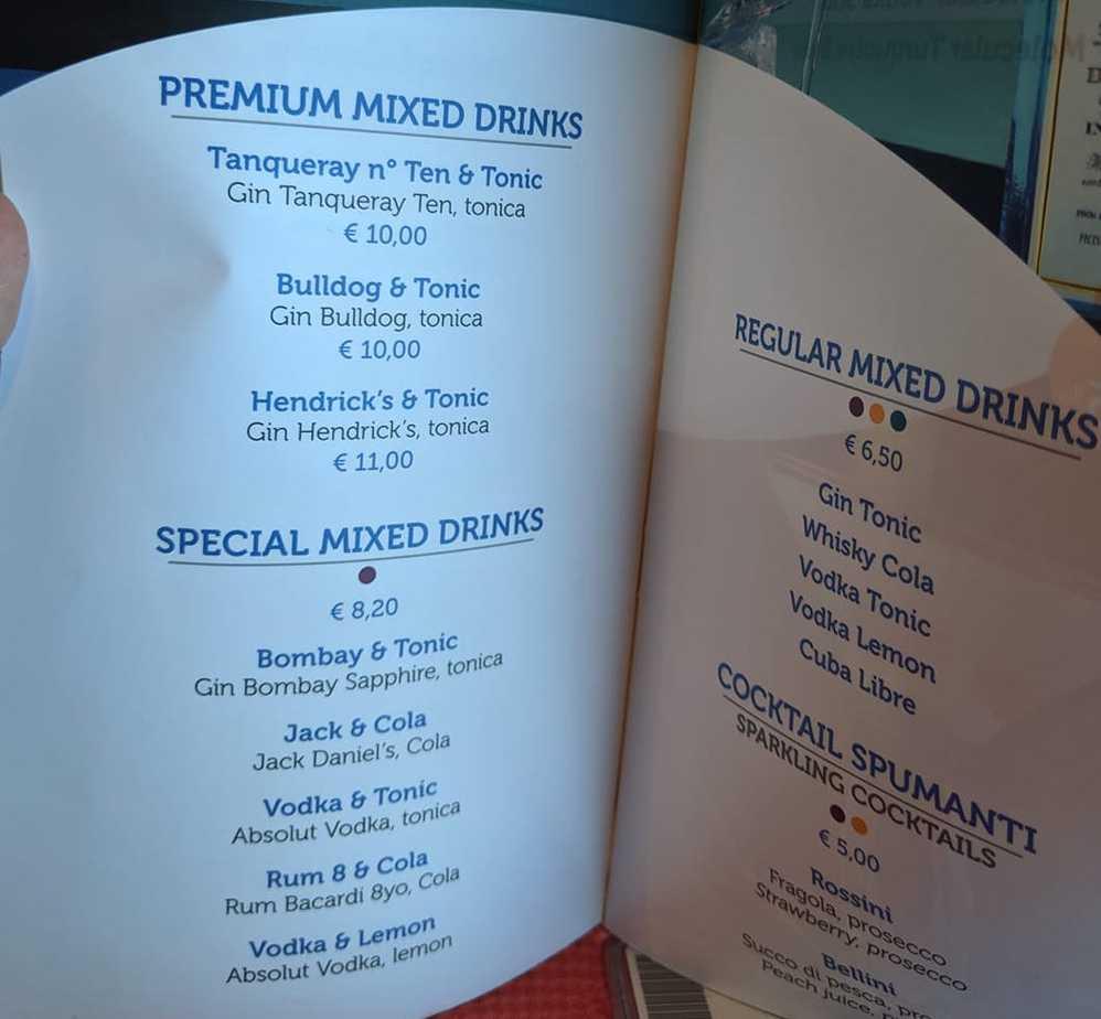 costa cruises drinks menu premium