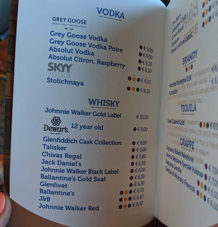 costa cruises drinks menu vodka whiskey