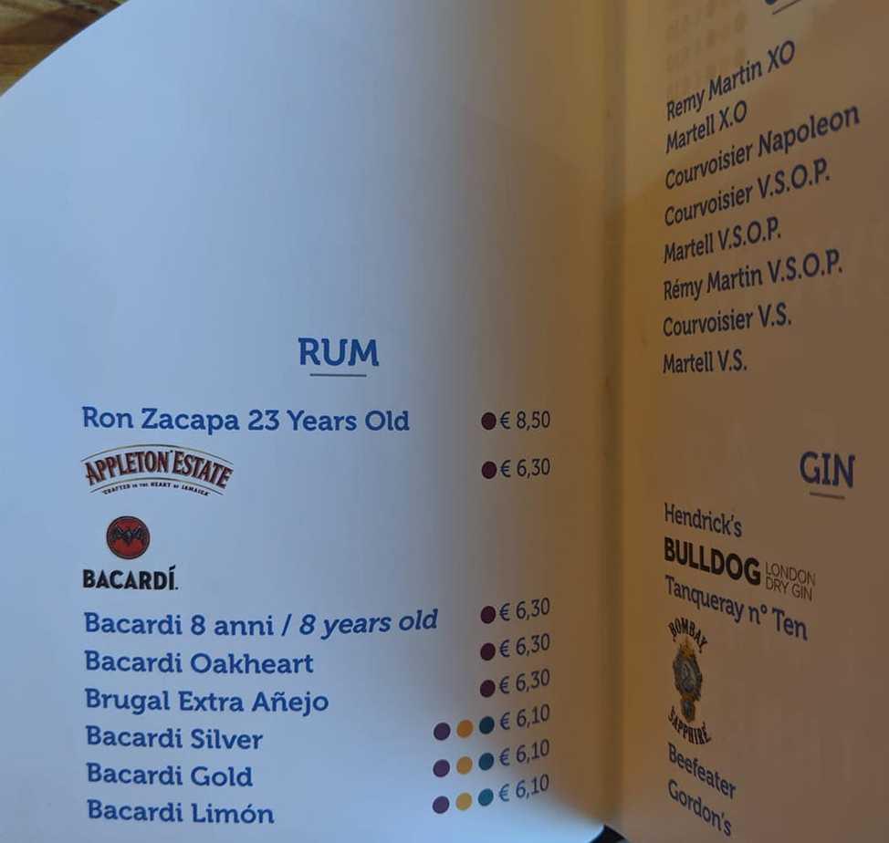 costa cruises drinks menu rum