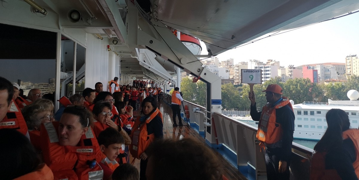 Promenade Deck Life Jackets Celestyal Olympia Cruises Muster Drill