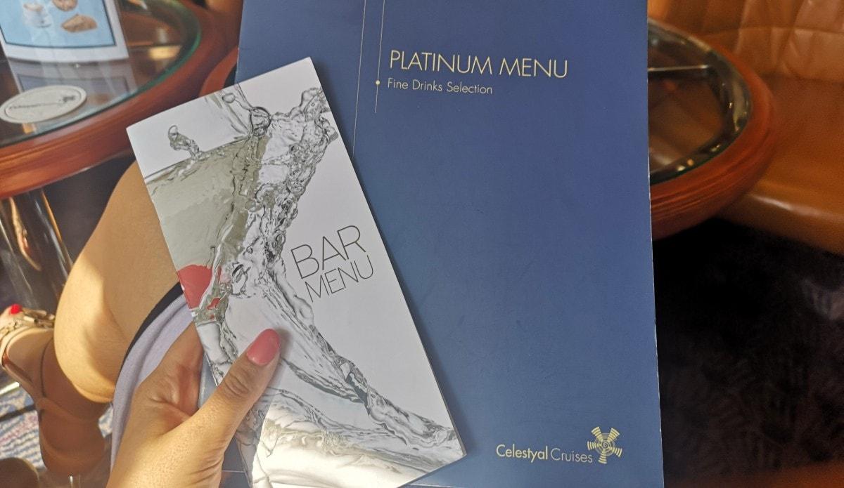 Celestyal Olympia Cruises Drinks Menu All Inclusive Platinum Premium Menu