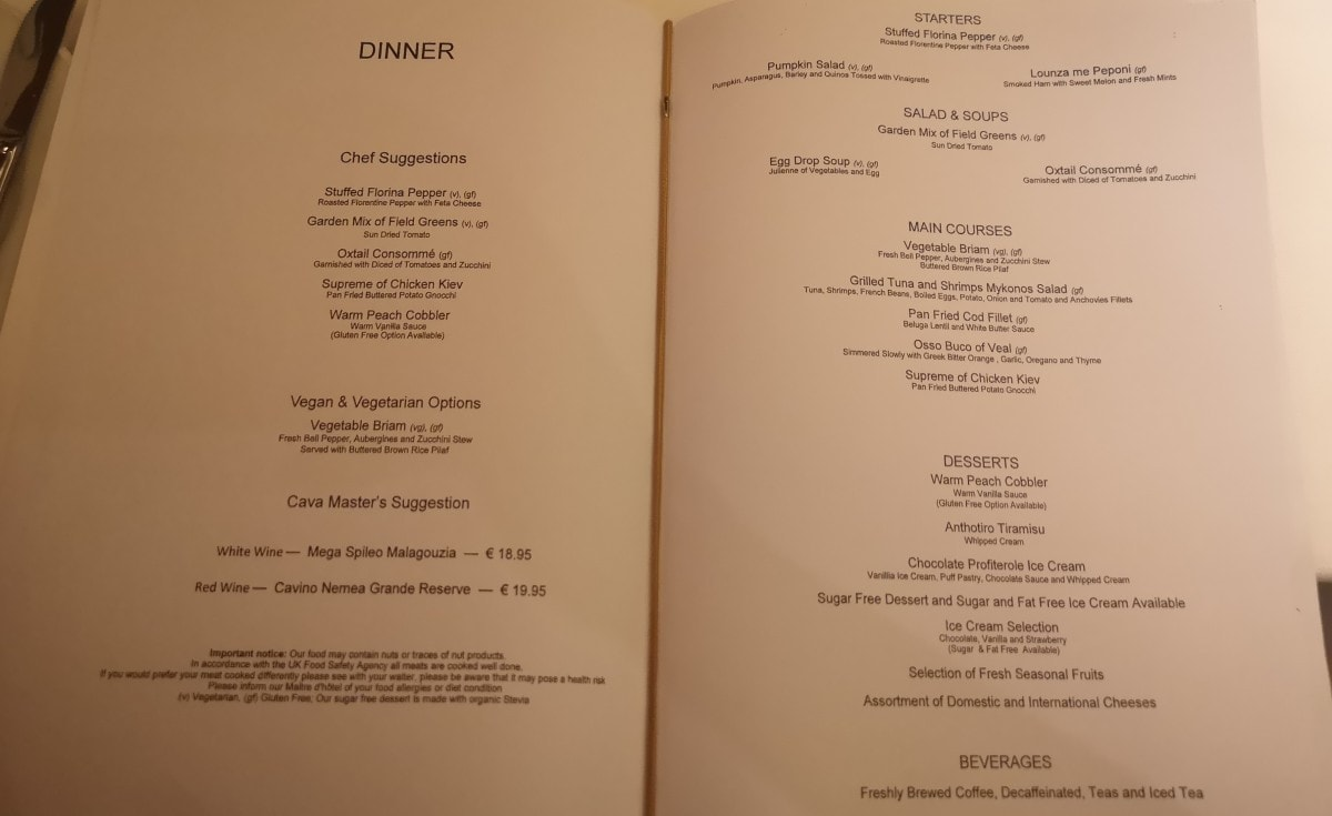 Celestyal Olympia Cruises Main Dining Room Menu