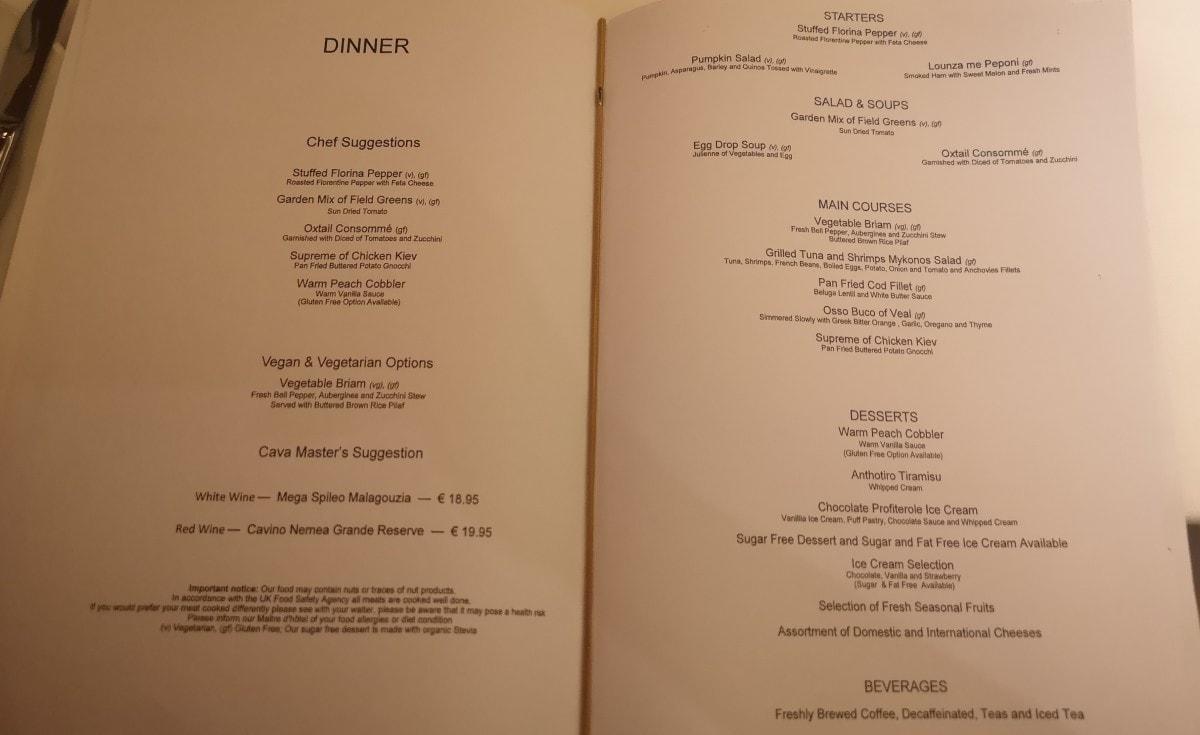 Celestyal Olympia Cruises Main Dining Room Menu