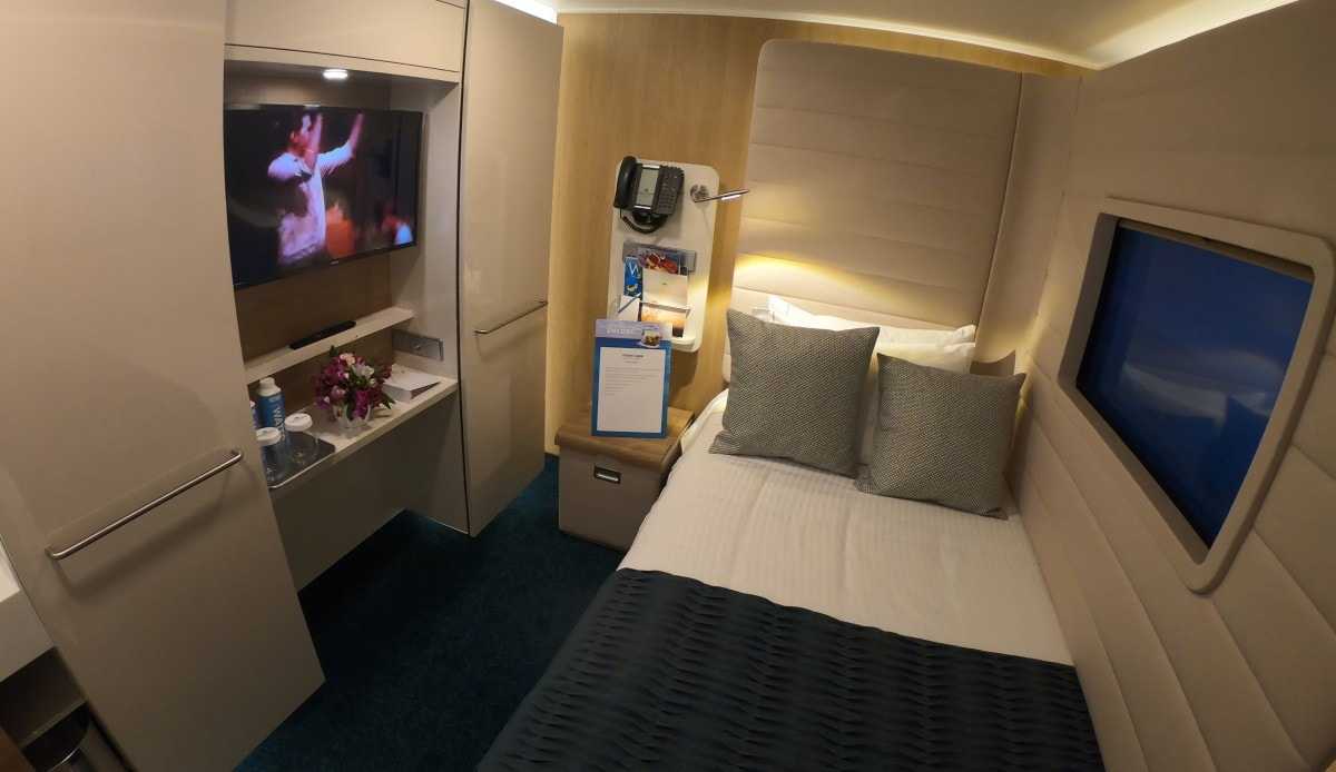 Norwegian Encore Solo Cabin Single Bed Wardrobes and TV