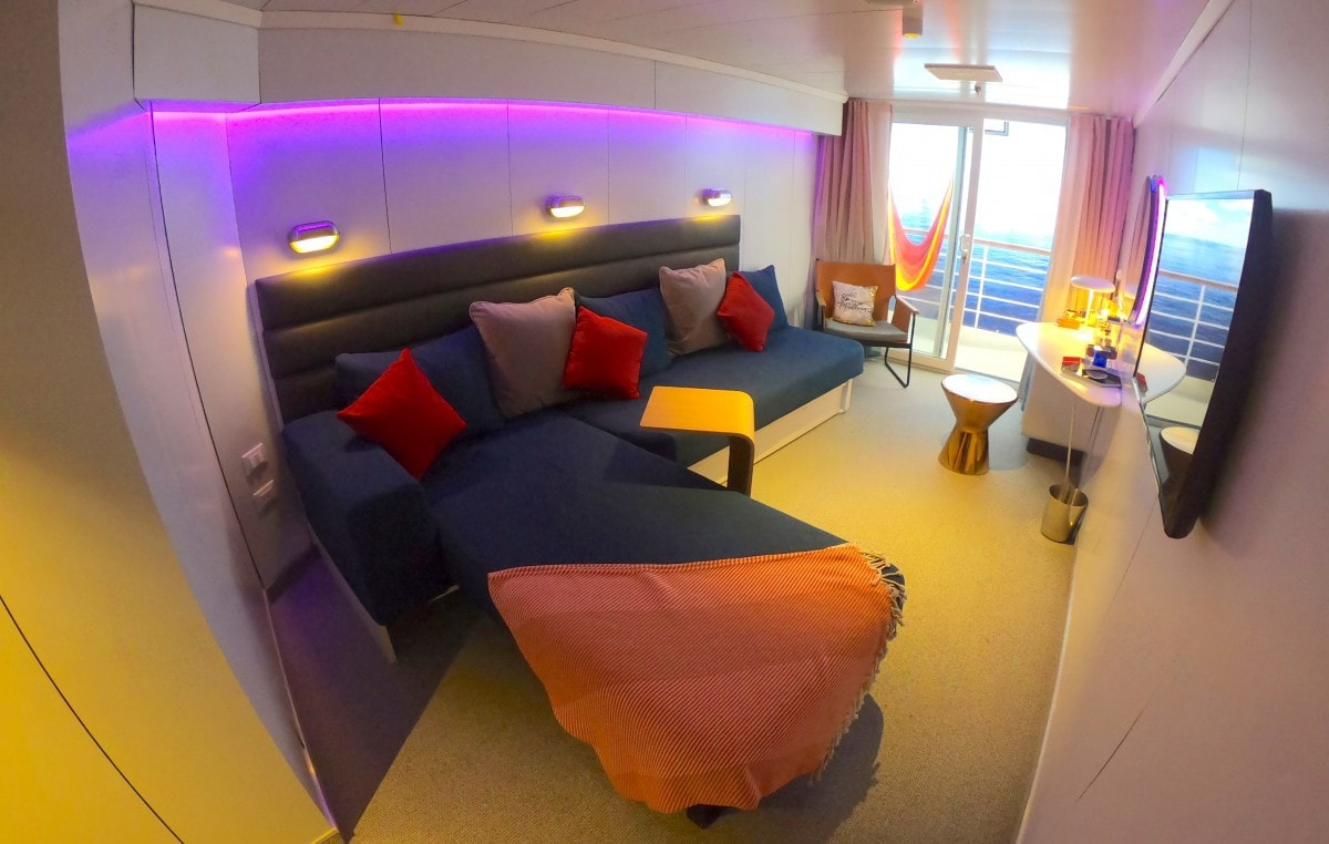 Scarlet Lady Virgin Voyages Balcony Cabin Sea Terrace Cabin Bed