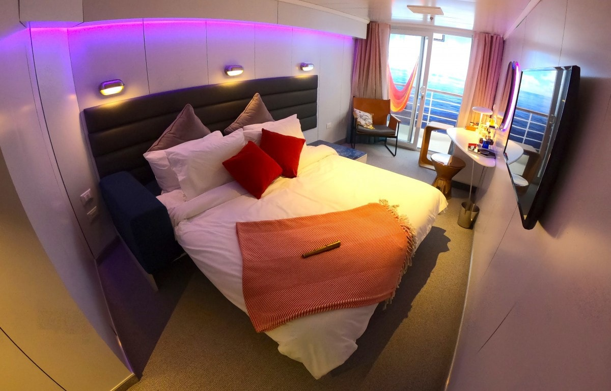 Virgin Voyages Scarlet Lady Bed Balcony Cabin Sea