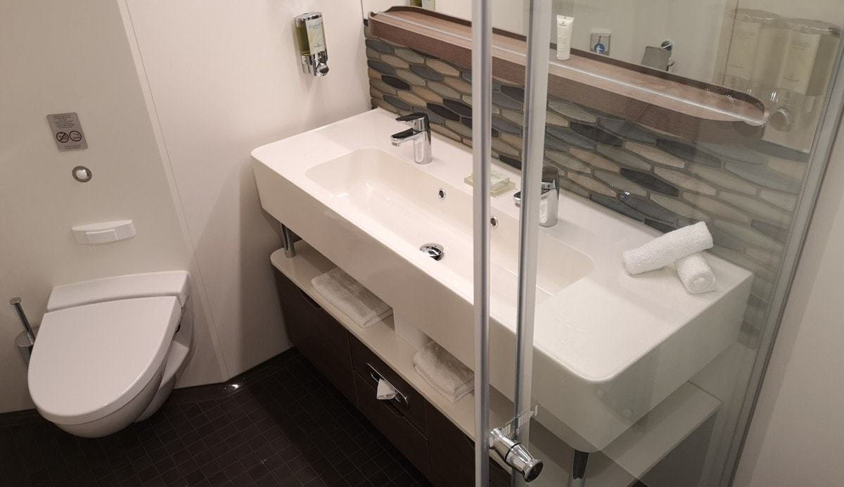 Norwegian Encore Mini Suite Bathroom Double Sinks Shower