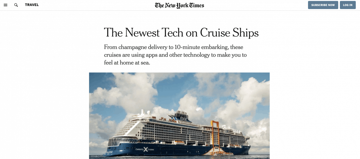 Cruising Isn't Just For Old People NY Times Emma Cruises Newspaper Article