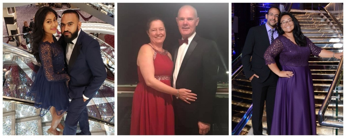 MSC Cruises Gala Night Dress Code Examples Women Dress Men Suit Sparkly Staircase Photos