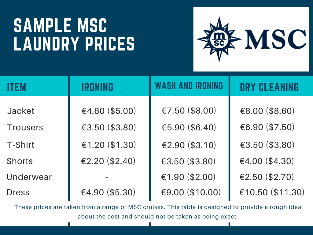 MSC Cruises Sample Laundry Prices